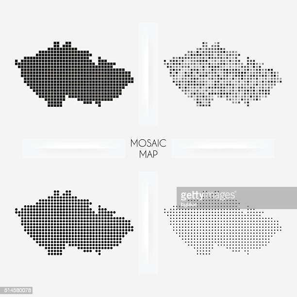 czech republic maps - mosaic squarred and dotted - czech republic stock illustrations