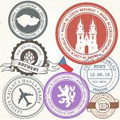 Czech travel stamps set - Prague journey symbols