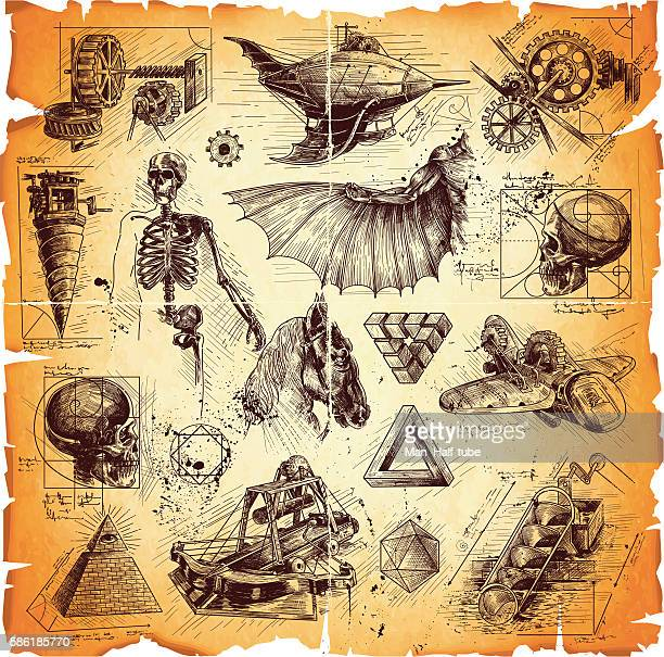 da vinci style drawings - fossil stock illustrations, clip art, cartoons, & icons