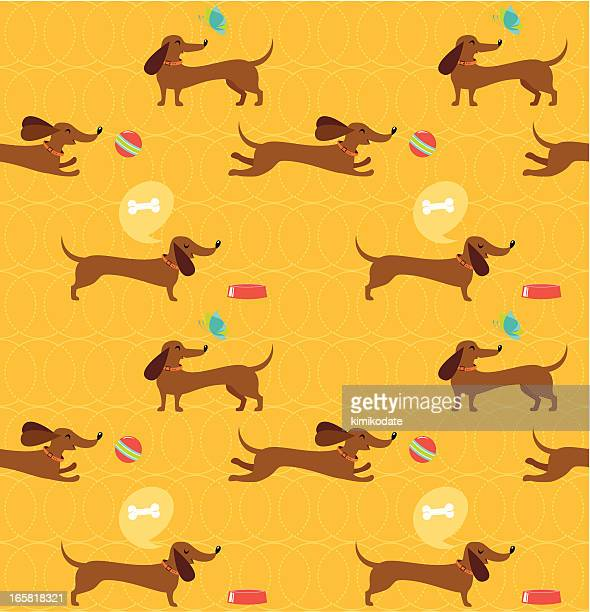 dachshund dog seamless pattern - dog leash stock illustrations, clip art, cartoons, & icons