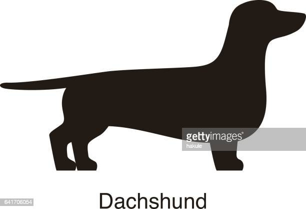 dachshund dog silhouette, side view, vector - dachshund stock illustrations