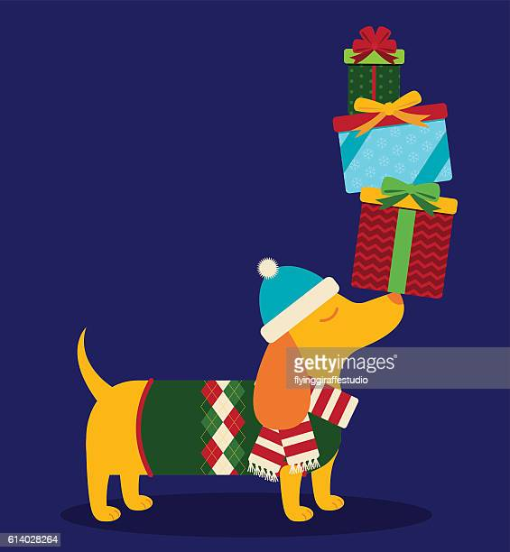 Dachshund with Presents