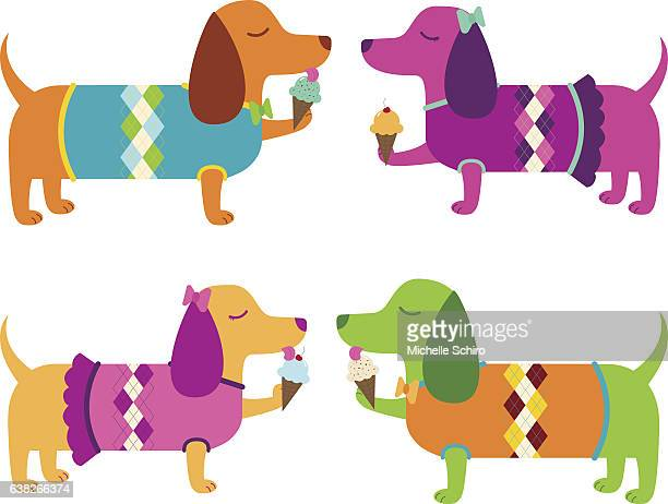 dachshunds eating ice cream cones - dog eating stock illustrations, clip art, cartoons, & icons