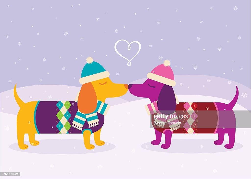 Dachshunds in Love : stock illustration