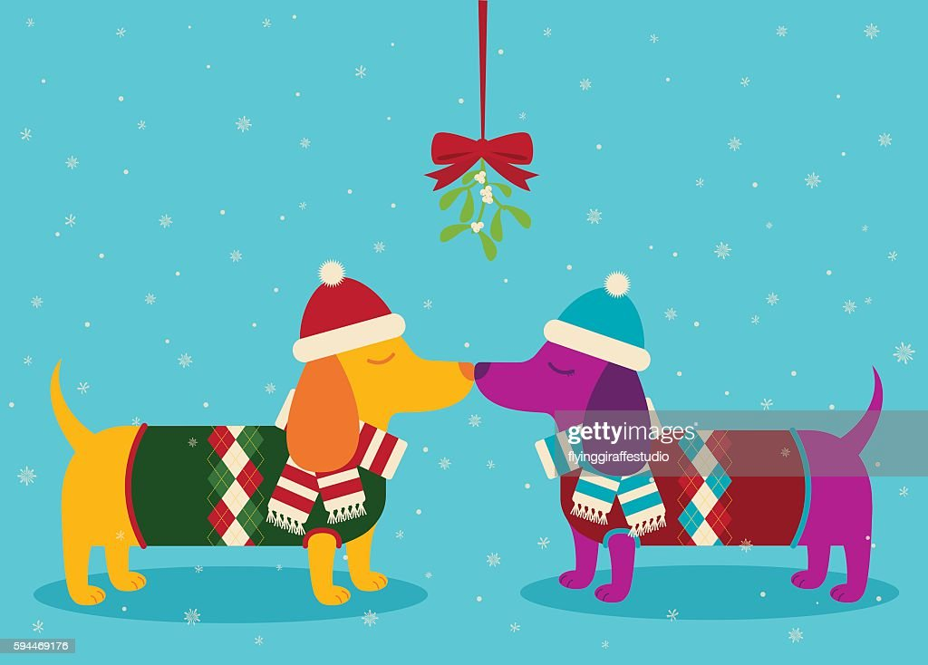 Dachshunds Kissing the Snow : stock illustration