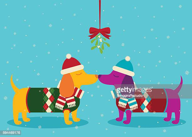 dachshunds kissing the snow - flirting stock illustrations, clip art, cartoons, & icons