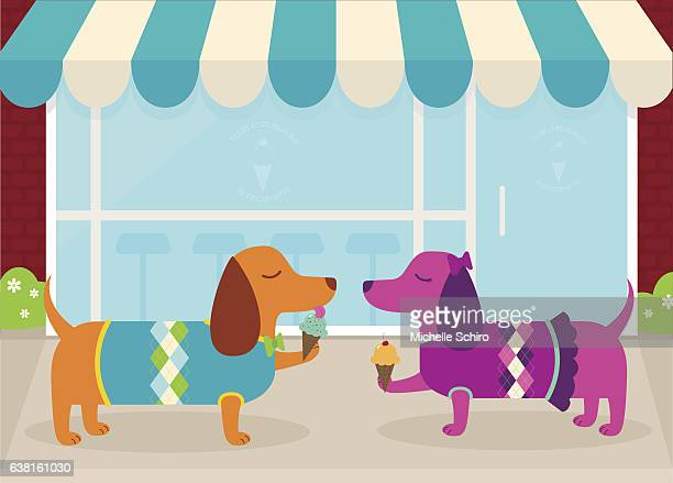 dachshunds on a date at an ice cream shoppe - dog eating stock illustrations, clip art, cartoons, & icons