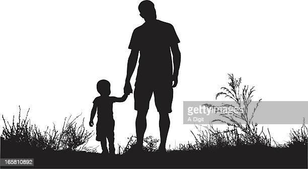 Dad'n Son Vector Silhouette