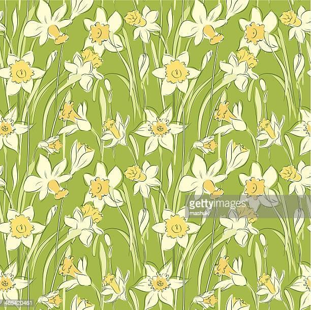 daffodil seamless pattern - daffodil stock illustrations, clip art, cartoons, & icons