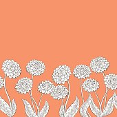 Dahlia flower graphic orange color seamless background sketch illustration vector