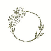 Dahlia flowers monogram wreath hand drawn line art.