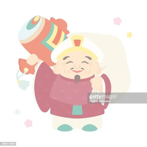 daikokuten. one of japanese seven lucky gods. - only japanese stock illustrations, clip art, cartoons, & icons