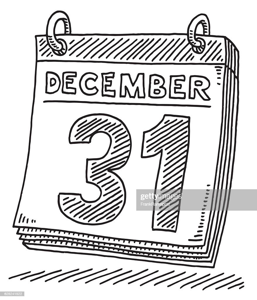 Daily Calendar December 31 Drawing : stock illustration