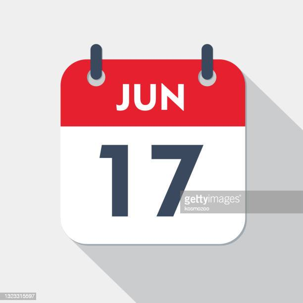 illustrations, cliparts, dessins animés et icônes de icône du calendrier quotidien - 17 juin - juin