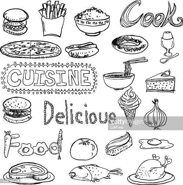 daily food sketch drawing collection - rice food staple stock illustrations