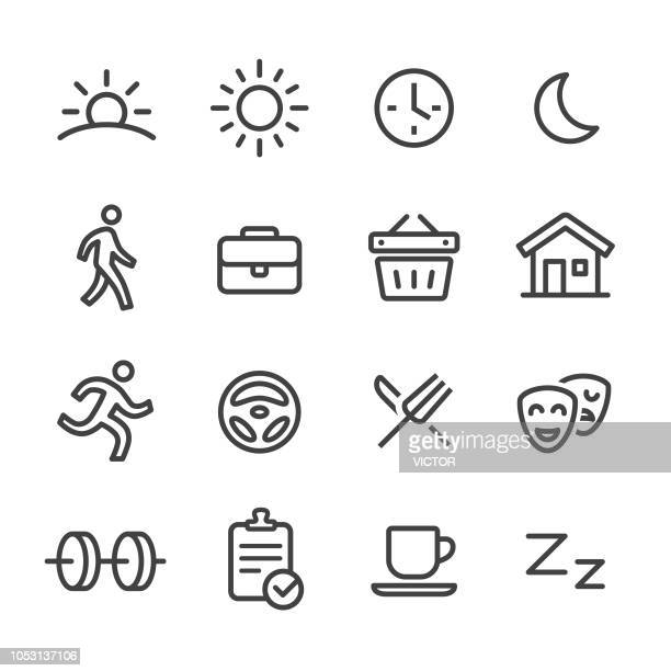 daily life icons - line series - routine stock illustrations