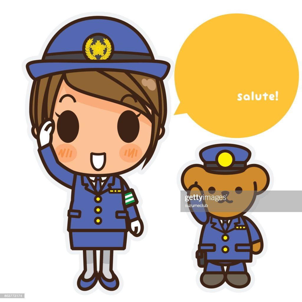 Daily life of the woman/policewoman and teddy bear