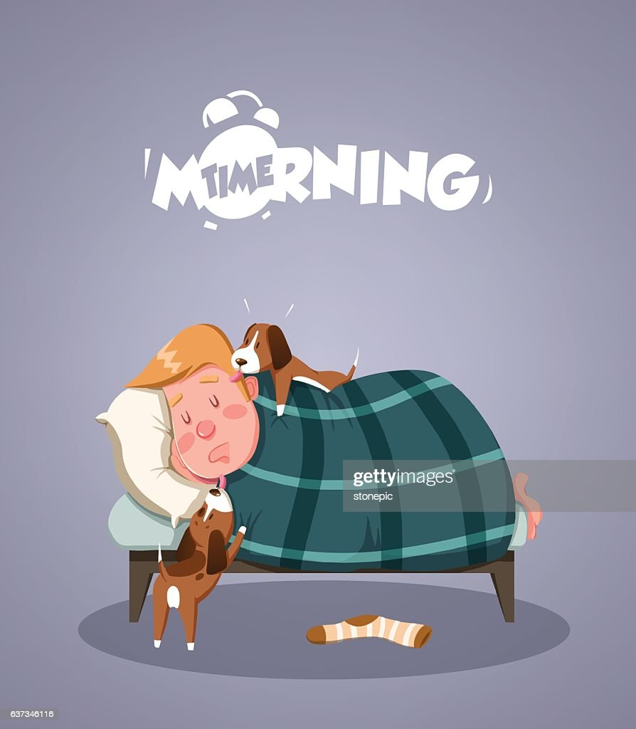 Daily Morning Life. Dogs trying to wake up owner