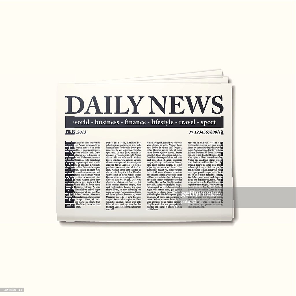 Daily news newspaper copy on white background