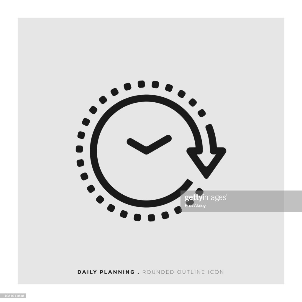 Daily Planning Rounded Line Icon : Stock Illustration