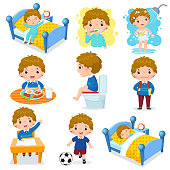 Daily routine activities for kids with cute boy