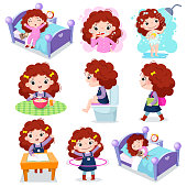 Daily routine activities for kids with cute girl