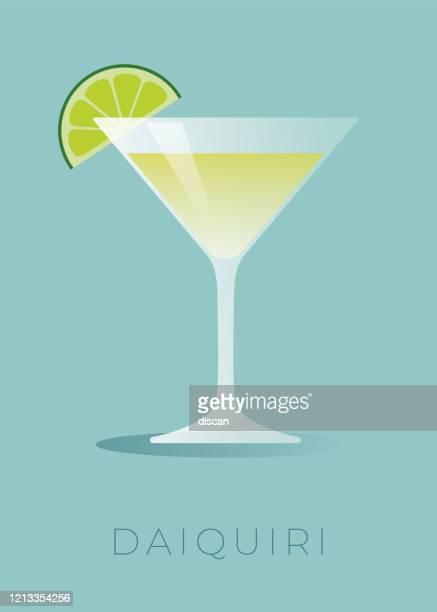bildbanksillustrationer, clip art samt tecknat material och ikoner med daiquiri cocktail med limekil. - cocktail