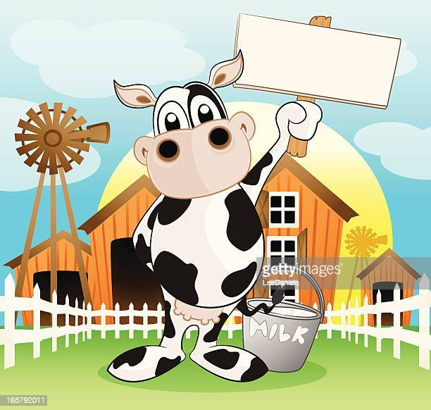 Dairy Cow holding a blank sign
