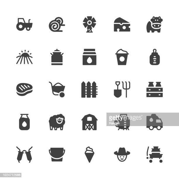 dairy farm icons - gray series - enclosure stock illustrations