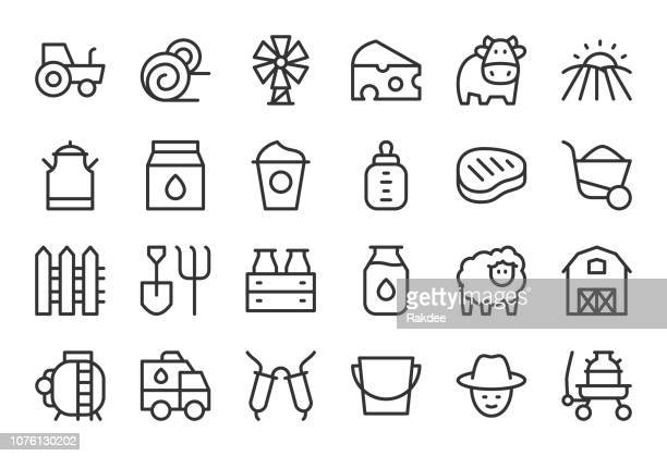 dairy farm icons - light line series - milking stock illustrations, clip art, cartoons, & icons