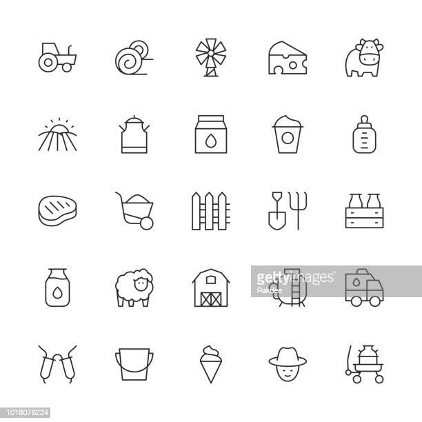 dairy farm icons - thin line series - milking stock illustrations, clip art, cartoons, & icons
