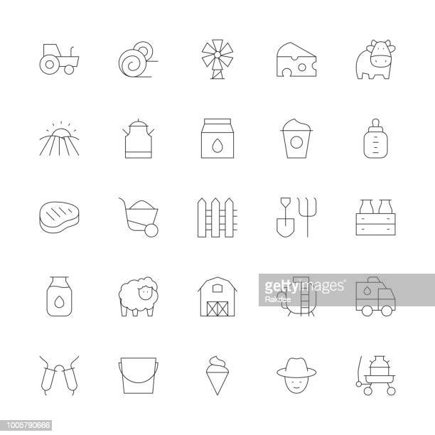 dairy farm icons - ultra thin line series - milking stock illustrations, clip art, cartoons, & icons