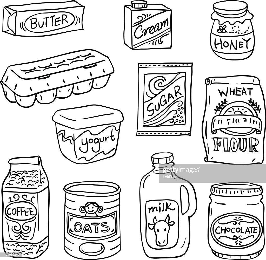 Dairy food in black and white : stock illustration