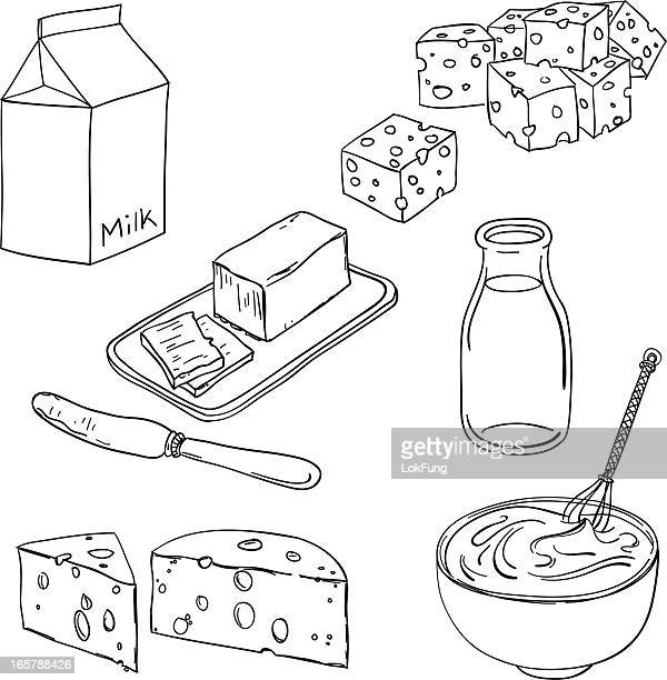 Dairy products in black and white