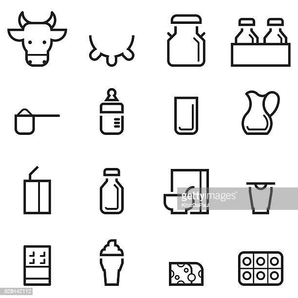 ilustraciones, imágenes clip art, dibujos animados e iconos de stock de productos lácteos iconos de línea fina - botella de leche