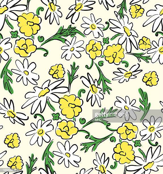 daisies and buttercups seamless pattern - ranunculus stock illustrations, clip art, cartoons, & icons