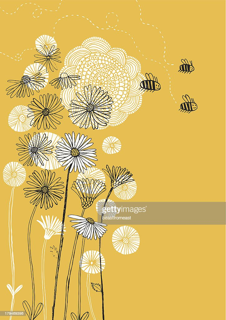 Daisies, sunflower and bees on sunny background : stock illustration