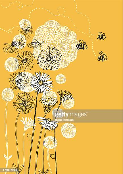 daisies, sunflower and bees on sunny background - pollen stock illustrations