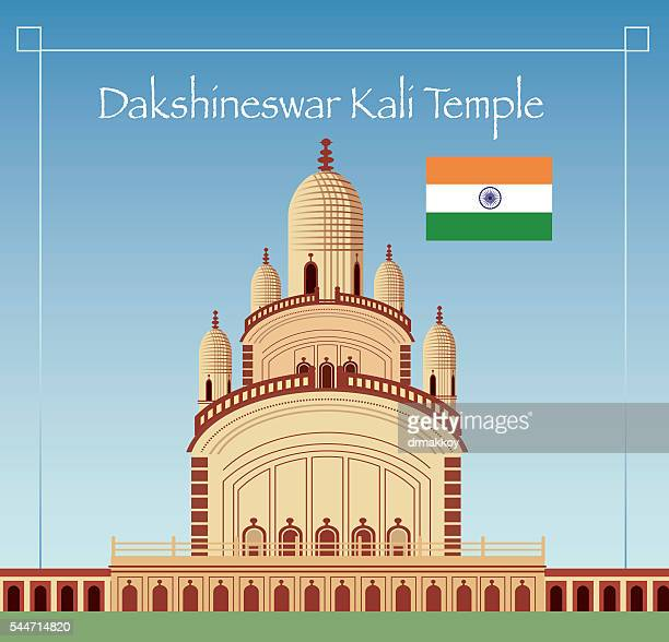 dakshineswar kali temple - west bengal stock illustrations