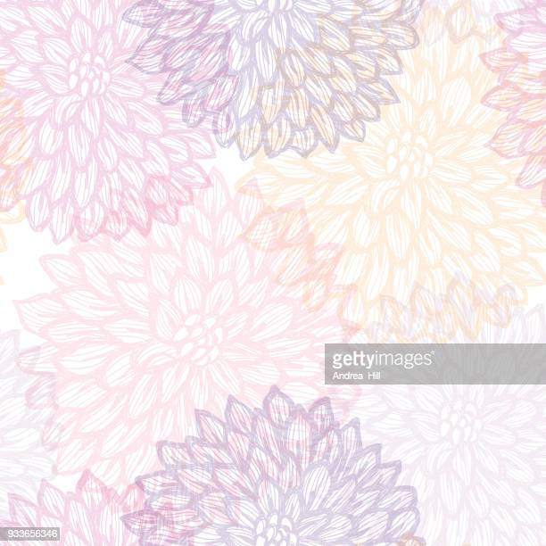 illustrazioni stock, clip art, cartoni animati e icone di tendenza di dalhia seamless vector pattern - ink drawing with watercolor texture - motivo floreale