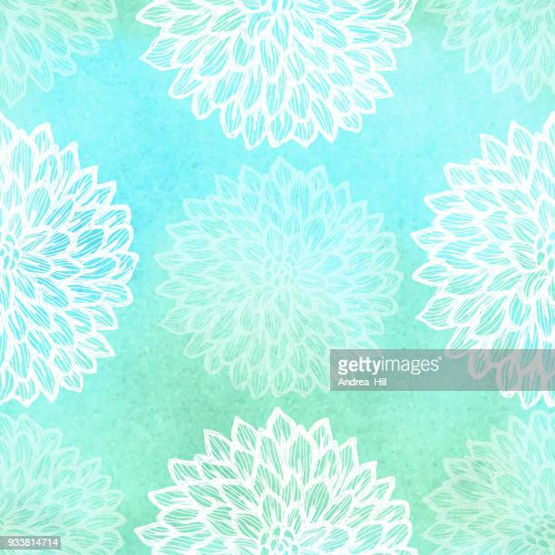 dalhia seamless vector pattern - ink drawing with watercolor texture - watercolor background stock illustrations