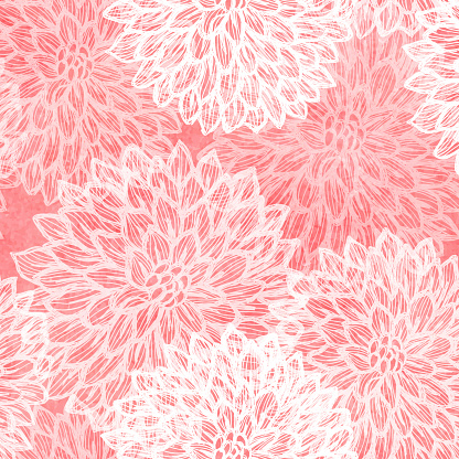 Dalhia Seamless Vector Pattern - Ink Drawing with Watercolor Texture - gettyimageskorea