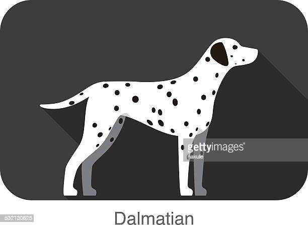 dalmatian dog breed flat icon design - dalmatian dog stock illustrations