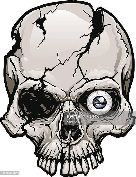 damaged skull - rot stock illustrations