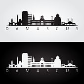 Damascus skyline and landmarks silhouette, black and white design, vector illustration.