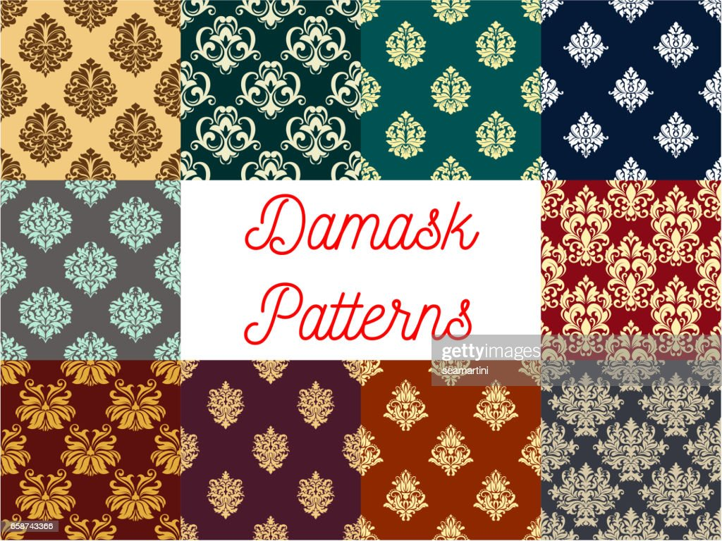 Damask floral ornament seamless patterns