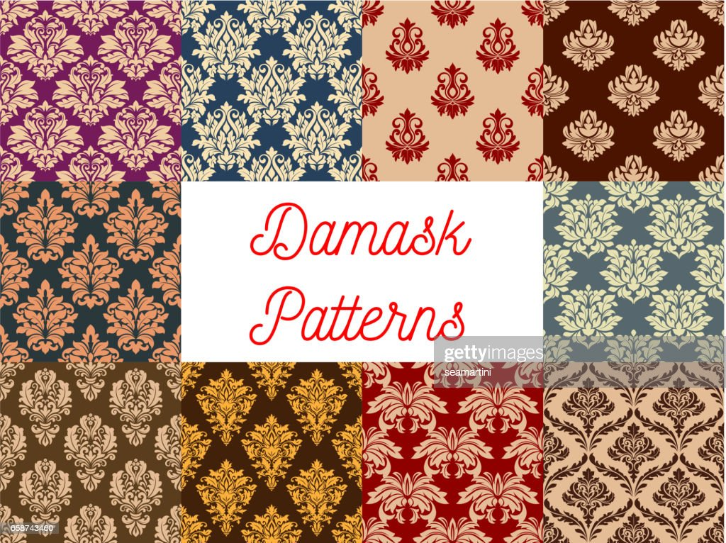 Damask ornate floral seamless pattern set