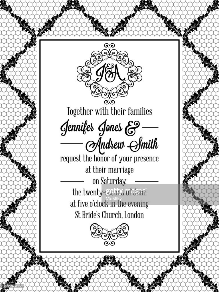 Damask pattern design for wedding invitation in black and white lace damask pattern design for wedding invitation in black and white lace pattern is included as stopboris Images