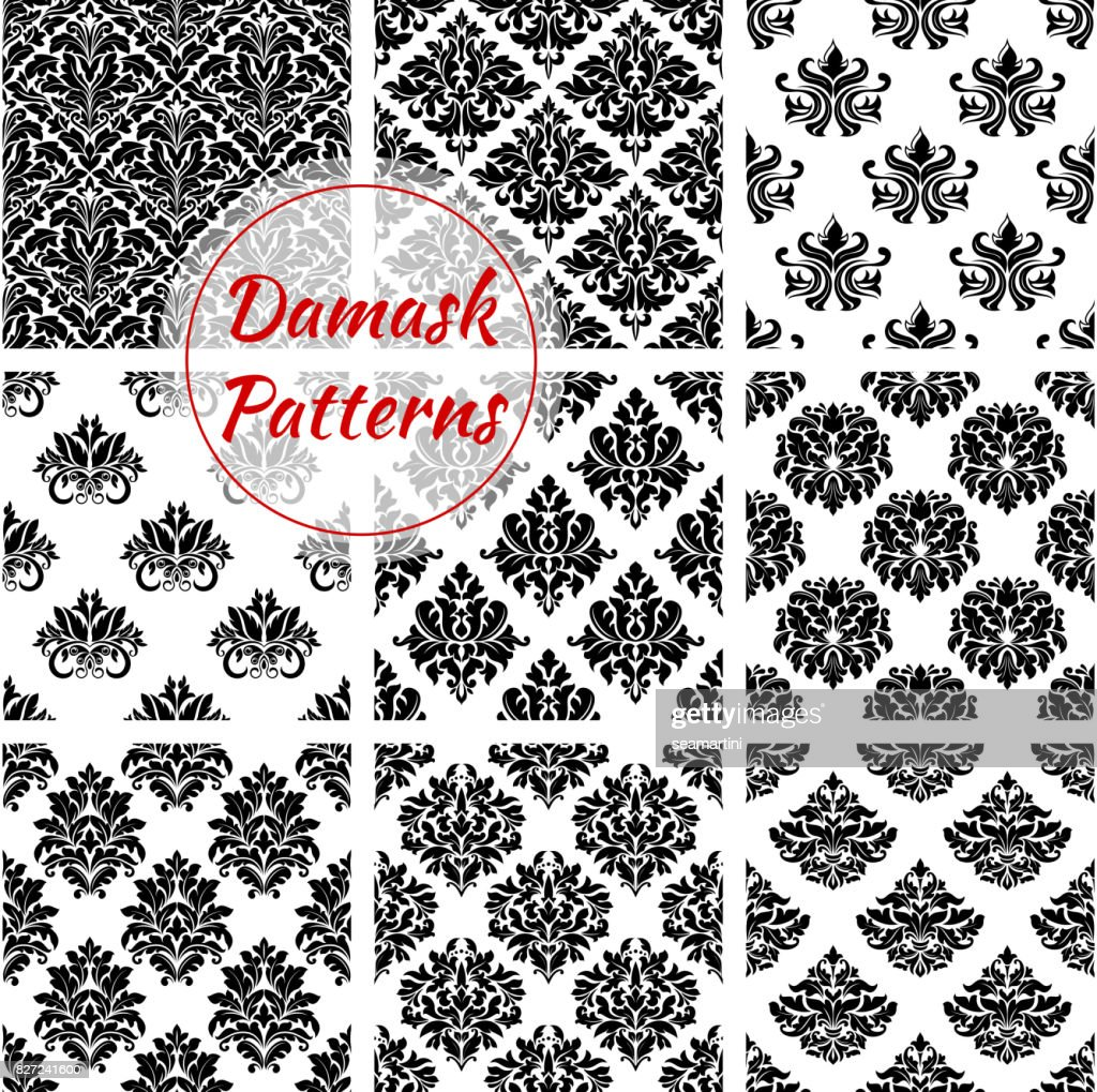 Damask pattern floral ornament vector seamless set