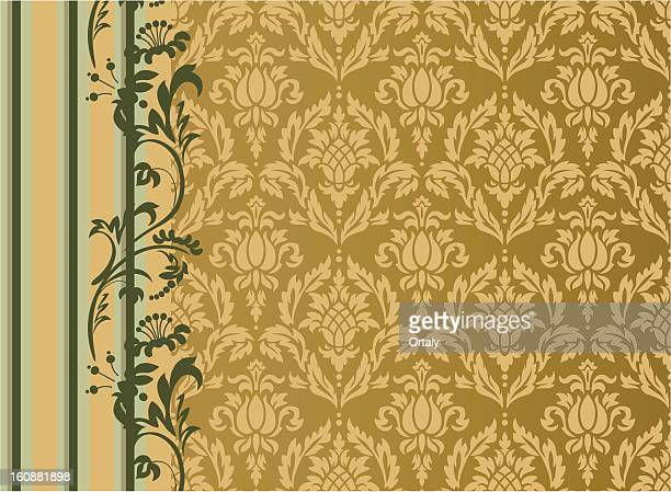 damask pattern with ananas - brocade stock illustrations